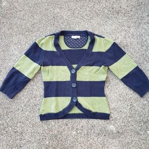 Aeropostale green and navy striped cardigan